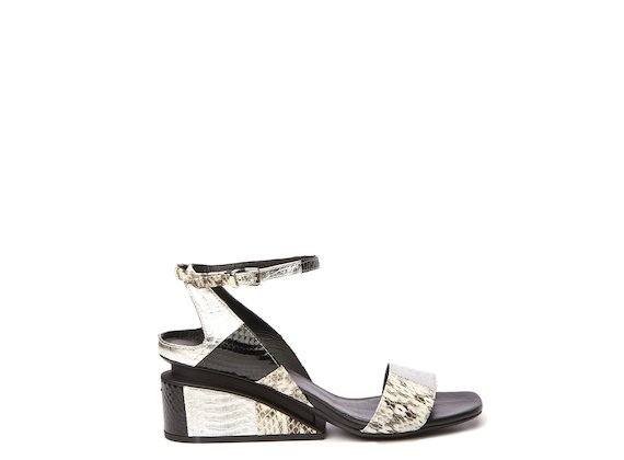 Snakeskin sandal with suspended heel