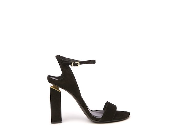 Black high-heeled sandal with suspended heel