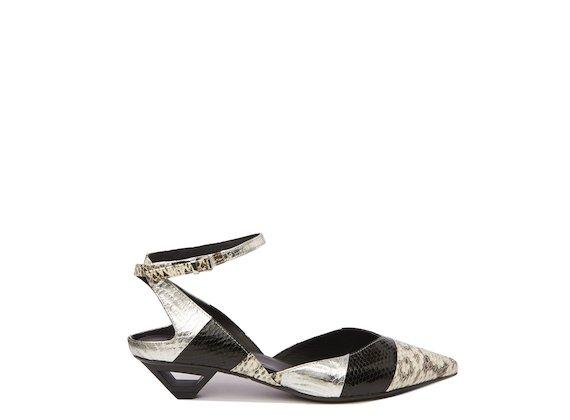 Snakeskin slingback shoe with hollow metal heel