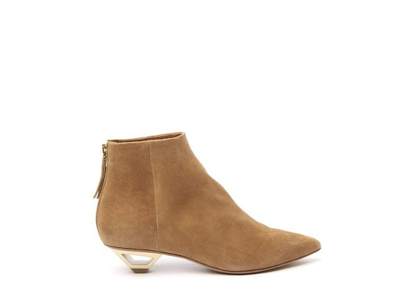 Leather ankle boot with hollow metal heel