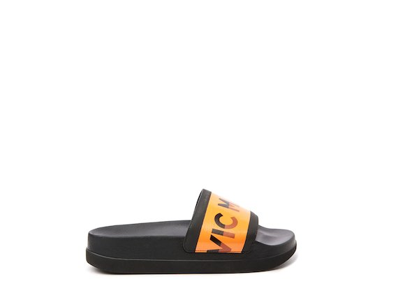 Black slider with orange logo