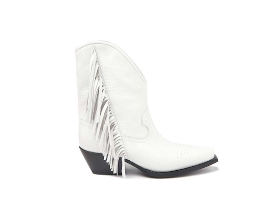 White Texan boot with fringes