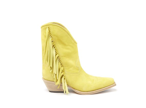 Lime yellow Texan boot with fringes