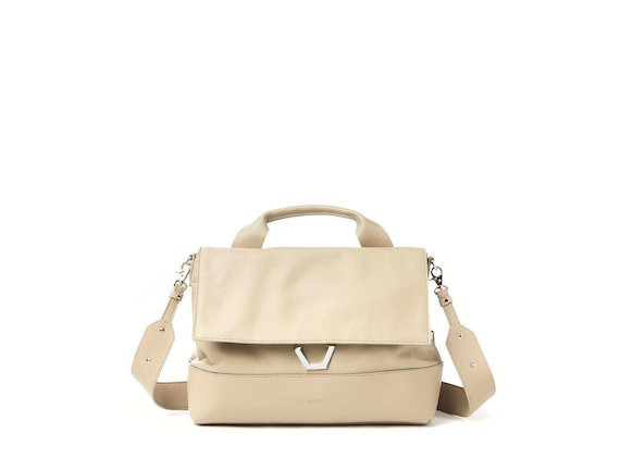 Nora<br>Dove grey satchel with metal ring