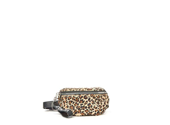 Ginger<br>Beige leopard print bum bag with maxi ring