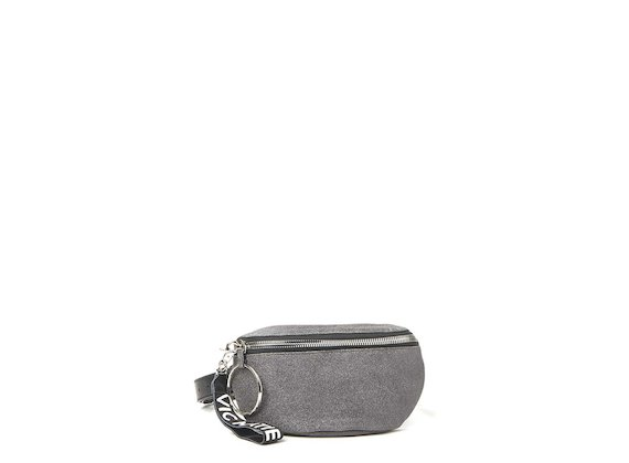 Ginger<br>Glitter black bum bag with maxi ring
