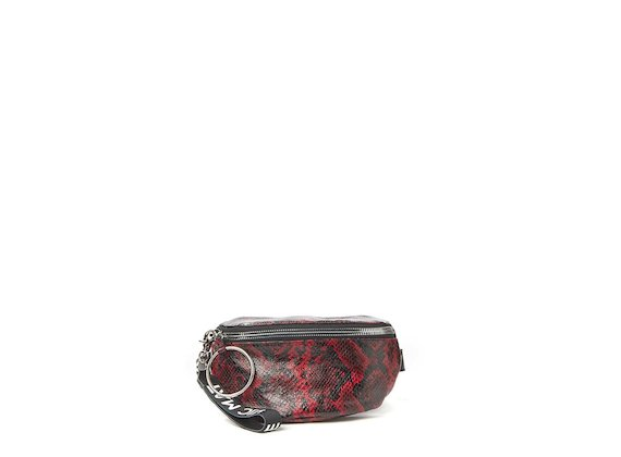 Ginger<br>Red snakeskin-effect bum bag