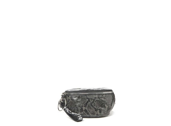 Ginger<br />Black snakeskin-effect bumbag with large metal zip - Black