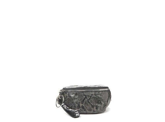 Ginger<br />Black snakeskin-effect bumbag with large metal zip