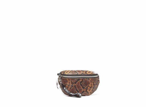 Ginger<br />Tan snakeskin-effect bumbag with large metal zip