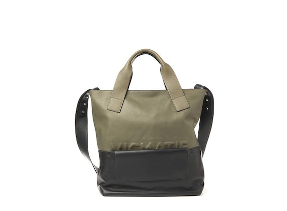 Petra<br>Khaki shopper bag with removable clutch