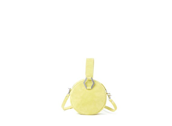 Rania<br>Mini bag rotonda gialla con accessorio metallico