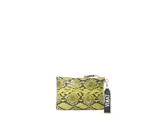 Madeline<br>Yellow snakeskin-effect clutch