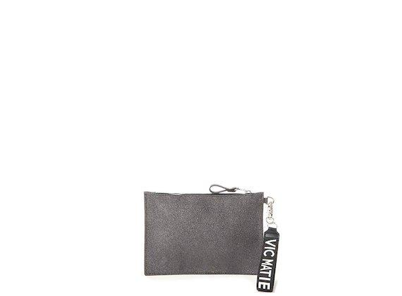 Madeline<br>Glitter black clutch - Grey