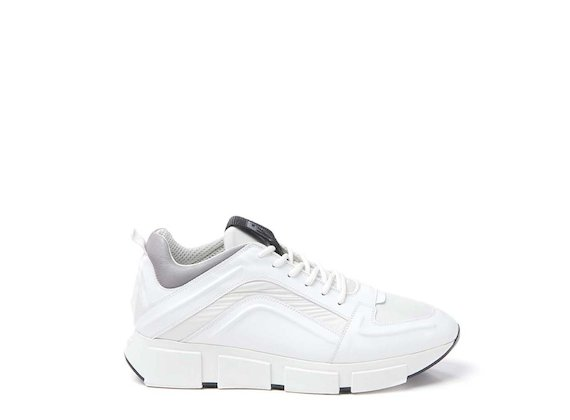 White leather and nylon trainer