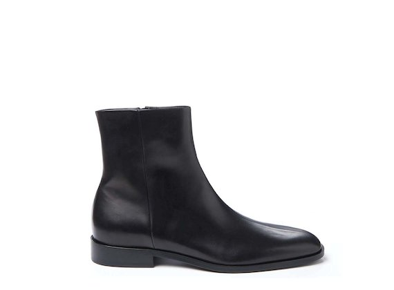 Square-toed ankle boot