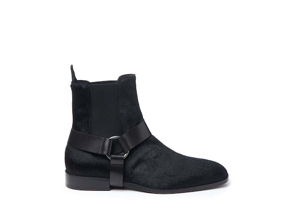Ponyskin-effect ankle boot with removable strap