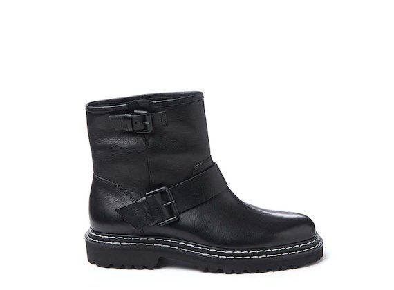 Black leather biker boot