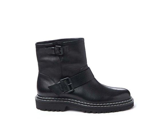 Black leather biker boot