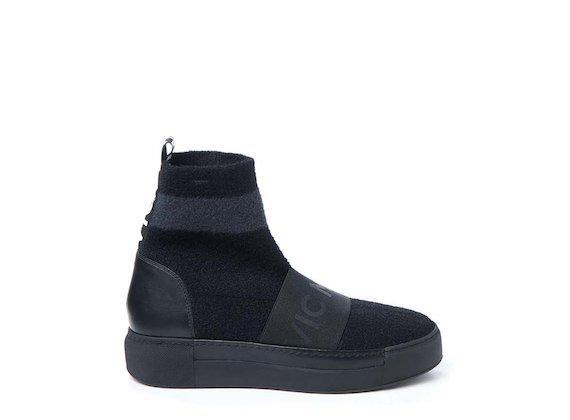 Sneakers style chaussette avec élastique - Noir