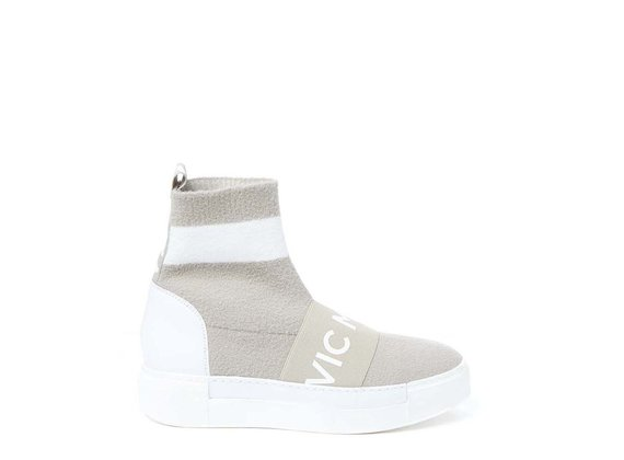 Beige sock trainer with elastic band