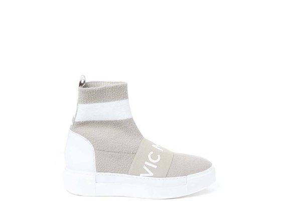 Sock-Sneaker mit Gummiband, beige