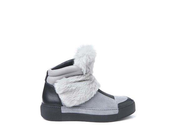 Sneakers avec rabat en fourrure gris perle