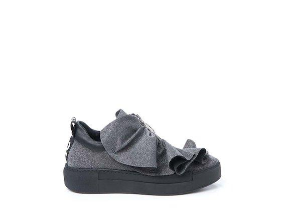 Sneaker in glitter con rouches