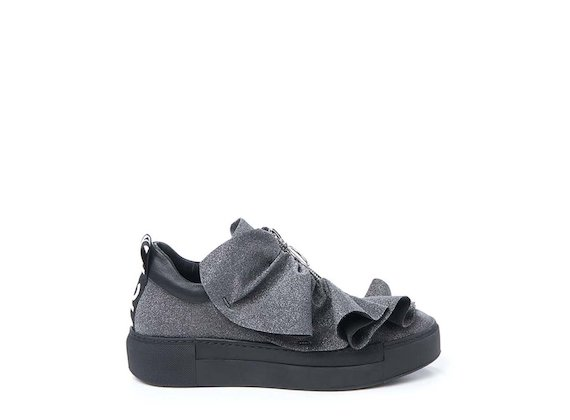 Glitter trainer with ruches - Black