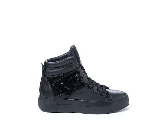 Sneakers à rabat avec logo effet 3D - Noir