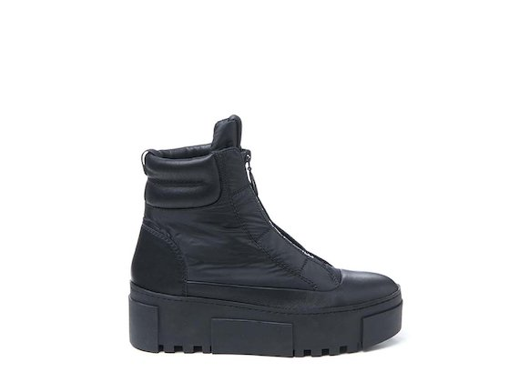 Nylon ankle boot with logoed zip - Black
