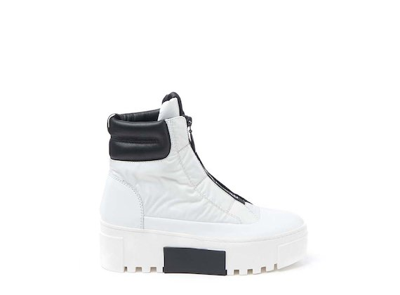 White nylon ankle boot with logoed zip