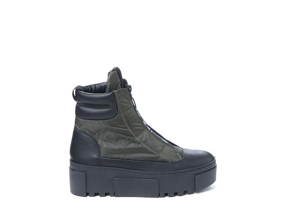 Army green nylon ankle boot with logoed zip