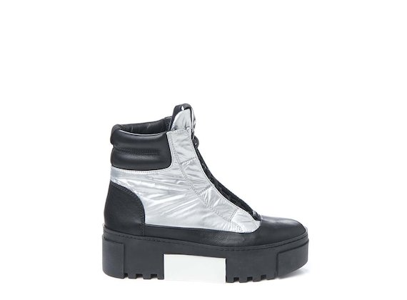 Silver lace-up nylon ankle boot
