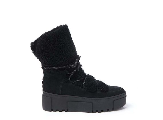 Sheepskin lace-up mid-calf boot