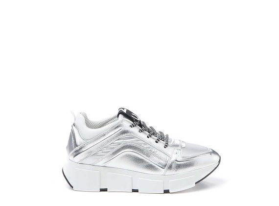 Silver leather trainer