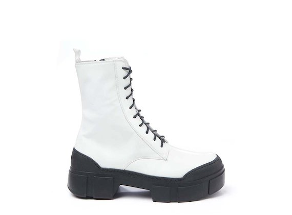 White brushed leather combat boot
