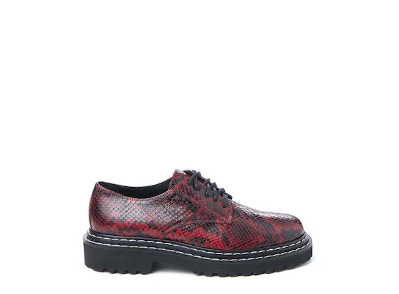 Red snakeskin-effect leather Derby shoe