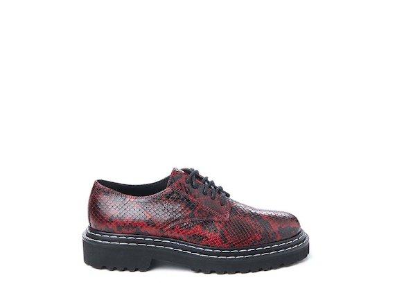 Red snakeskin-effect leather Derby shoe