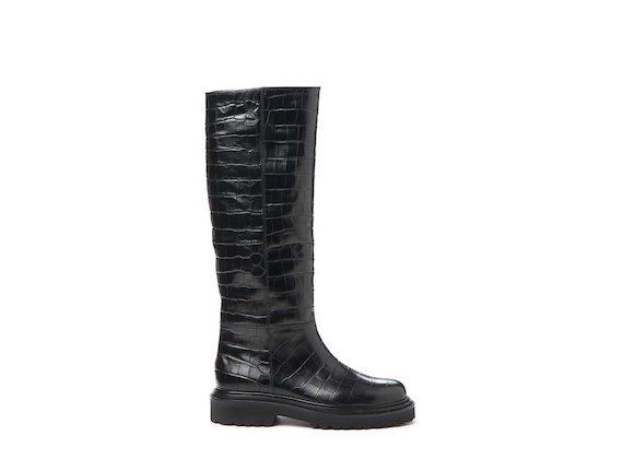 Crocodile-effect leather stove pipe boot