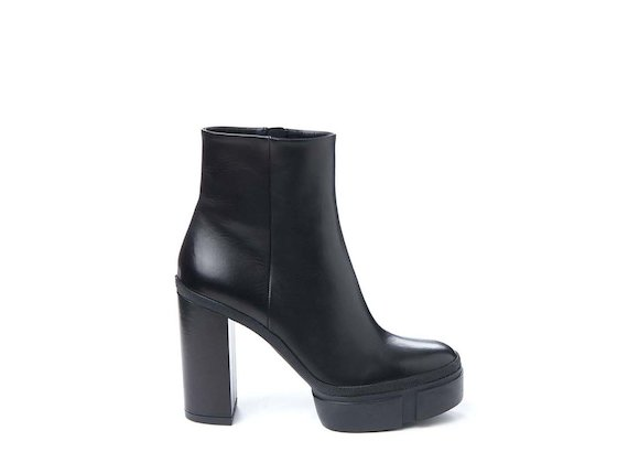 Semi-shiny calfskin ankle boot