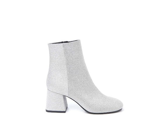 Glitter ankle boot with flared heel