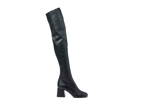 Stretch leather thigh-high boot with flared heel