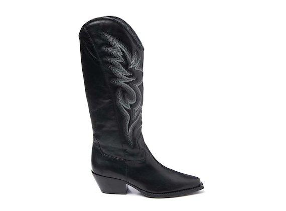 Stivale texano con ricamo nero