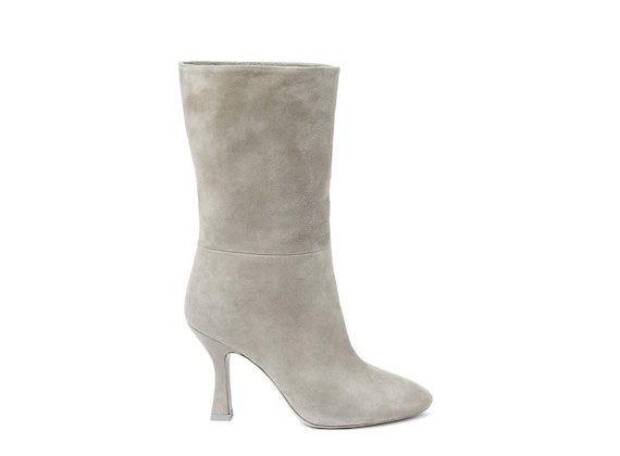Beige fold-over half boot with spool heel