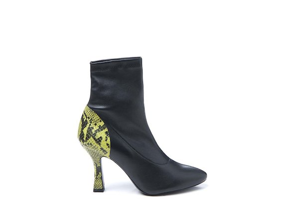 Stretch heeled ankle boot with yellow snakeskin-effect heel