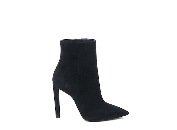 Black suede heeled ankle boot with stiletto heel
