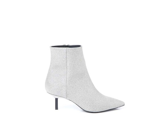 Silver glitter ankle boot with metallic heel