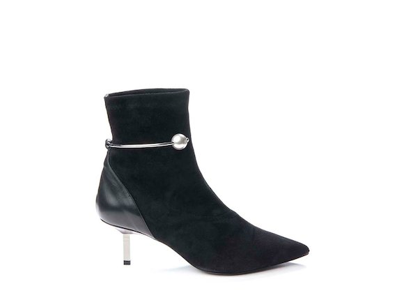 Ankle boot with pearl ankle strap