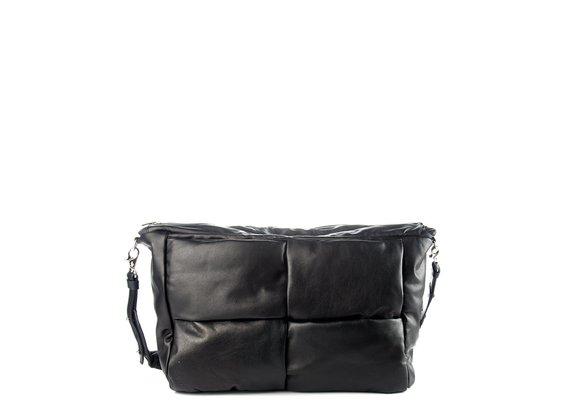 Alanis<br />Black leather/nylon shoulder bag